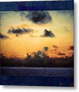 Orange Sunset Over Ocean Metal Print