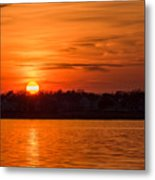 Orange Sunset Sky Island Heights Nj Metal Print