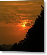 Orange Sunset With Tree Silhouette Metal Print