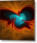 Orange Swirl With Blue Metal Print