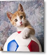 Orange Tabby Kitten With Soccer Ball Metal Print