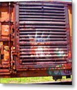 Orange Train Car Metal Print