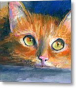 Orange Tubby Cat Painting Metal Print by Svetlana Novikova