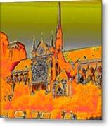 Orange Version Of Notre Dame Metal Print