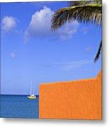 Orange Wall-st Lucia Metal Print