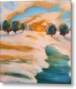Oranges In The Snow-landscape Painting By V.kelly Metal Print by Valerie Anne Kelly