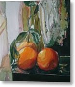Oranges On Black  Metal Print
