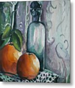 Oranges With Blue Bottle Metal Print