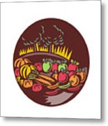 Orchard Crop Harvest Circle Woodcut Metal Print