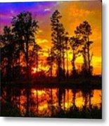 Orchard Lake Sunset Metal Print