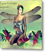 Orchid Faerie Holiday Card Metal Print