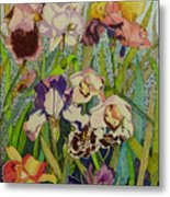 Orchids And Irises II  Metal Print