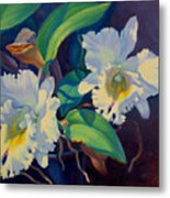 Orchids In A Blue Pot Metal Print