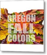 Oregon Maple Leaves Mixed Fall Colors Text Metal Print