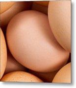 Organic Brown Eggs In Filled Frame Format Metal Print