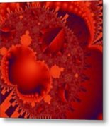 Organics Over Geometrics In Red Metal Print