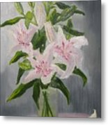 Oriental Lilies In White And Pink Metal Print