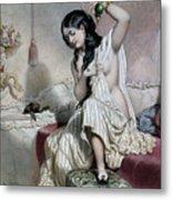 Oriental Woman At Her Toilet Metal Print