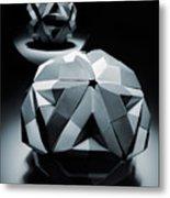 Origami Paper Sphere Metal Print
