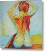 Original Abstract Oil Painting Female Nude Girl On Canvas#16-2-5-06 Metal Print