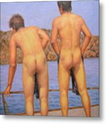 Original Oil Painting Art Male Nude Gay Interest Boy Man On Linen#16-2-5-12 Metal Print