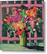 Original Bouquetaday Floral Painting By Elaine Elliott 59.00 Incl Shipping 12x12 On Canvas Metal Print