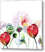 Original Floral Background With Flowers Metal Print