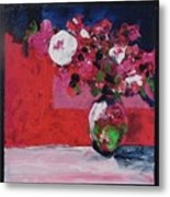 Original Floral Painting By Elaine Elliott, 12x12 Acrylic And Collage, 59.00 Incl. Shipping, Contemp Metal Print