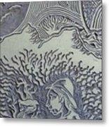 Original Linoleum Block Print Metal Print