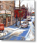 Original Montreal Paintings For Sale Tableaux De Montreal A Vendre Pointe St Charles Scenes Metal Print
