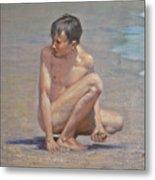 Original Oil Painting Art Male Nude Gay Boy On Linen#16-2-5-09 Metal Print