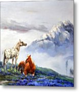 Original Oil Painting On Canvas Two Horses Metal Print