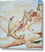 Original Watercolor Painting Artwork Sailor Male Nude Man Gay Interest On Paper #9-015 Metal Print