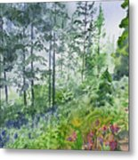 Original Watercolor - Summer Pine Forest Metal Print