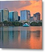Orlando Cityscape Sunset Metal Print
