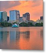 Orlando Skyscrapers And Palm Trees Metal Print