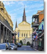 Orleans Street And St Louis Cathedral Metal Print