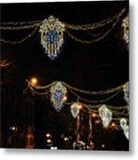 Ornamental Design Christmas Light Decoration In Madrid, Spain Metal Print