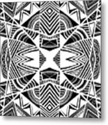 Ornamental Intersection - Abstract Black And White Graphic Drawing Metal Print