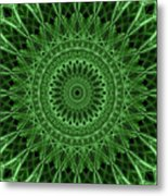 Ornamented Mandala In Green Tones Metal Print