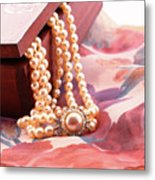 Ornate Box Carved And Pearl Necklace Detail Metal Print