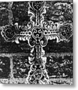 Ornate Cross 3 Bw Metal Print