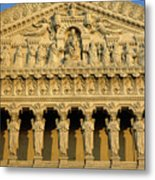 Ornate Facade Of The Basilica Of Notre-dame De Fourviere At Sunset Metal Print