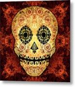 Ornate Floral Sugar Skull Metal Print
