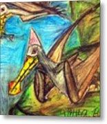 Ornithocheirus By The Sea Metal Print