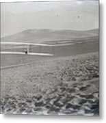 Orville Making Right Turn Showing Warping Of Wings Hill Visible In Front Of Him Kitty Hawk North Car Metal Print