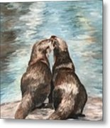 Otter Buddies Metal Print