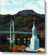 Our Lady Of Mt Carmel Church Steeple - Poughkeepsie Ny Metal Print