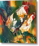 Our Neighbors Roosters Metal Print