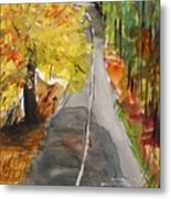 Our Road With Yellow Maple Metal Print
